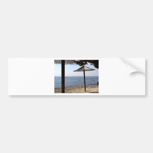 Straw Umbrellas on the Beach Bumper Sticker