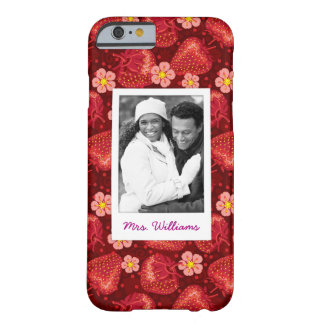 Strawberry Blossom Pattern | Monogram Barely There iPhone 6 Case