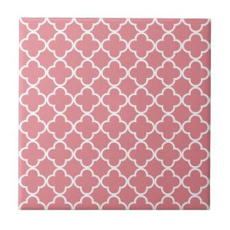 Strawberry Ice White Quatrefoil Moroccan Pattern Small Square Tile