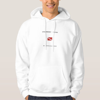 Strawberry Island Washington Scuba Dive Flag Hoodie
