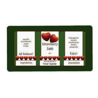 Strawberry Jam Canning Jar Label