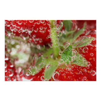 Strawberry macro in bubbly water poster