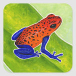 Strawberry Poison Dart Frog Square Stickers