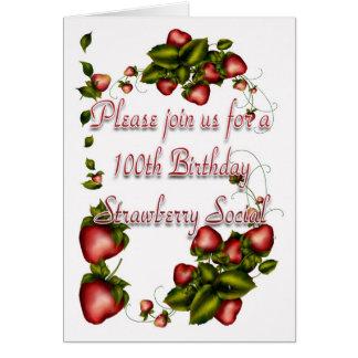 Strawberry Social Invitation - 100th Birthday