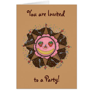 Strawberry Sun Days - Notecards(Invitations brown) Card
