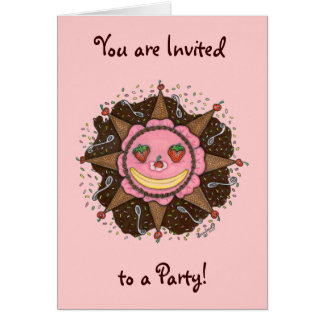 Strawberry Sun Days - Notecards(Invitations pink) Card