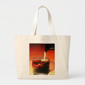 Streaming Cream into Coffee Large Tote Bag