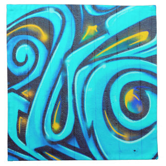 Street Art Blue Abstract Graffiti Napkin