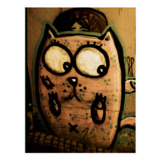 Street art cat postcard