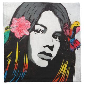 Street Art Graffiti Girl and Hummingbirds Napkin