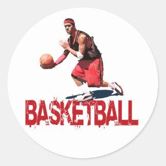 Streetball Dribble Classic Round Sticker