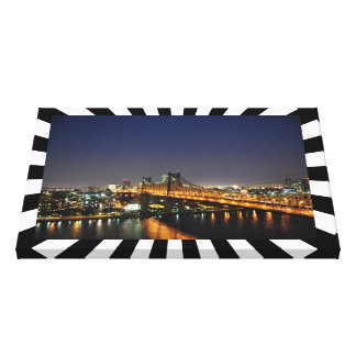 Stretched Canvas Print Nightscene Bridge