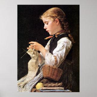 Strickendes Mädchen Knitting Girl Poster