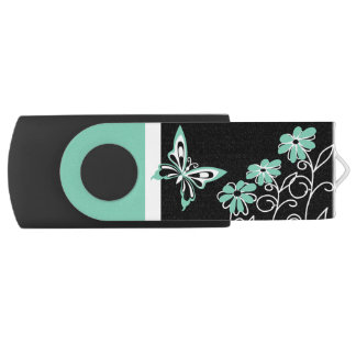 Striking Aqua Green Butterfly and Flowers USB Flash Drive
