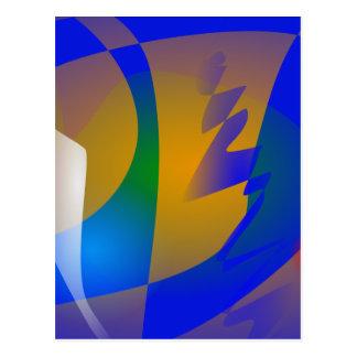 Striking Blue Abstract Art Post Card