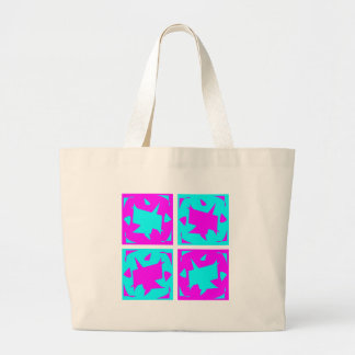 Striking Cyan & Pink abstract Design Jumbo Tote Bag