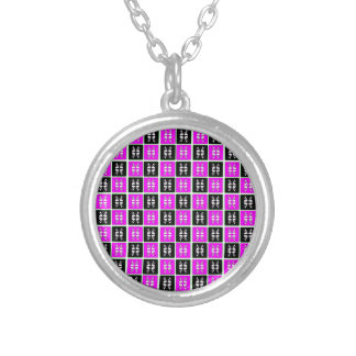 Striking Cyan & Pink abstract Design Round Pendant Necklace
