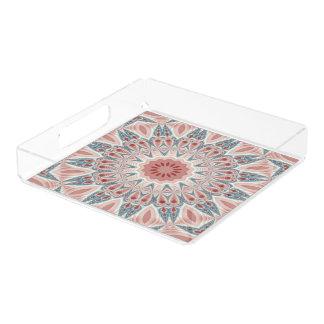 Striking Modern Kaleidoscope Mandala Fractal Art Acrylic Tray