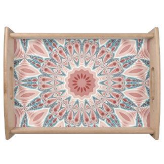 Striking Modern Kaleidoscope Mandala Fractal Art Serving Tray