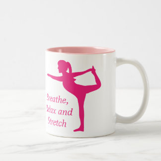 Striking Pink Silhouette of lady in stretch pose Two-Tone Coffee Mug