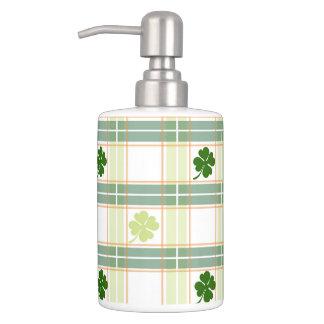 Striking Plaid Four Leaf Clover Soap Dispenser And Toothbrush Holder