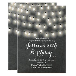 String light birthday invitation