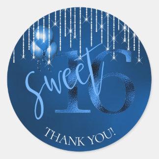String Lights & Balloons Sweet 16 Dk Blue ID473 Classic Round Sticker