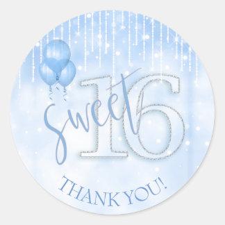 String Lights & Balloons Sweet 16 Lt. Blue ID473 Classic Round Sticker