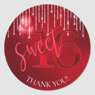 String Lights & Balloons Sweet 16 Red ID473 Classic Round Sticker