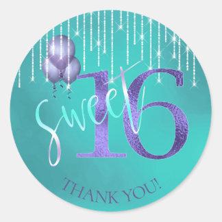 String Lights & Balloons Sweet 16 TealPurple ID473 Classic Round Sticker