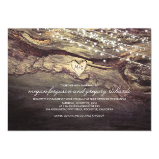 String Lights Carved Heart Rustic Wedding 13 Cm X 18 Cm Invitation Card