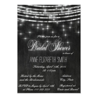 String lights chalkboard Bridal Shower II Card
