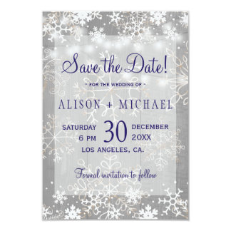 String lights crystal snowflakes save date wedding card