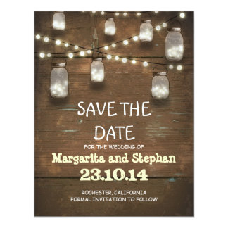 string lights & mason jars save the date cards 11 cm x 14 cm invitation card