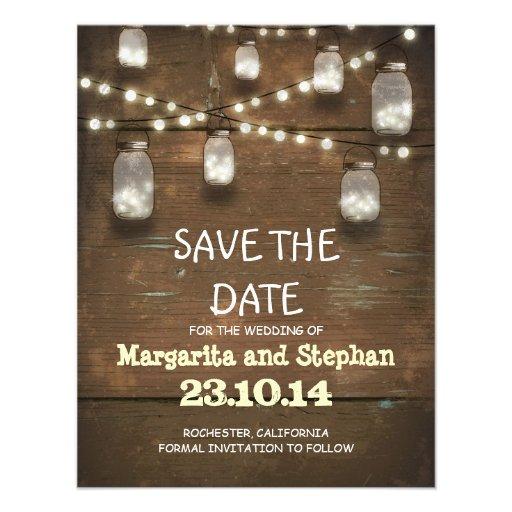 string lights & mason jars save the date cards