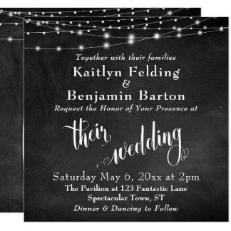 String Lights on Chalkboard Typography Wedding Card