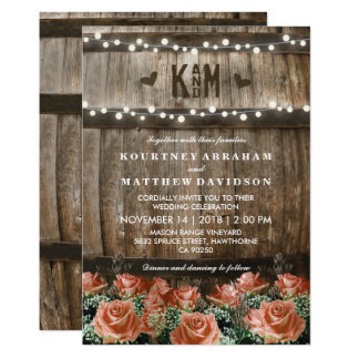 String Lights | Rustic Country Barrel Wedding 13 Cm X 18 Cm Invitation Card