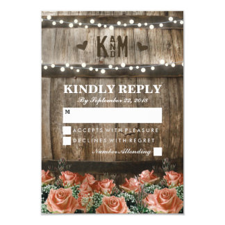 String Lights | Rustic Country Barrel Wedding RSVP 9 Cm X 13 Cm Invitation Card