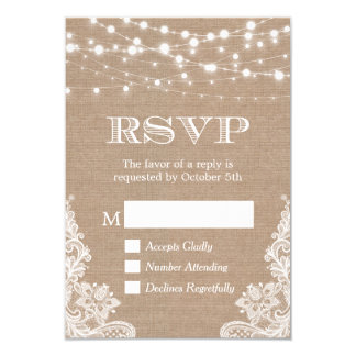 String Lights Rustic Country Burlap Lace RSVP Card