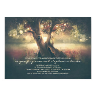 String Lights Tree - Carved Heart Engagement Party Card