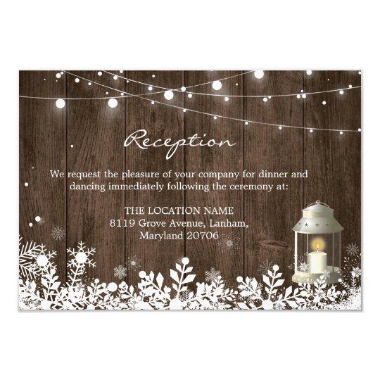 String Lights Winter Wedding Reception Details Card