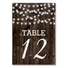 String of lights on old wood wedding table number
