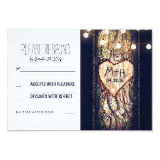 Strings of Lights Carved Heart Wedding RSVP Cards 9 Cm X 13 Cm Invitation Card