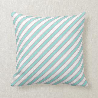STRIPE PATTERN PILLOW, Mint Peach & White Cushion