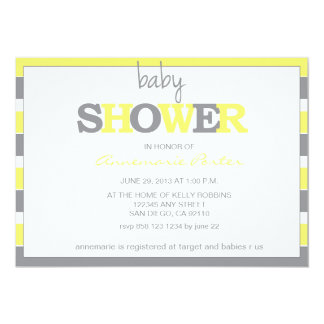 Striped Baby Shower Invitation-Grey and Yellow Card