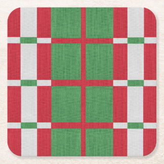 Striped Christmas Square Paper Coaster