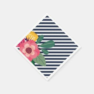 Striped Floral Napkins Disposable Serviettes