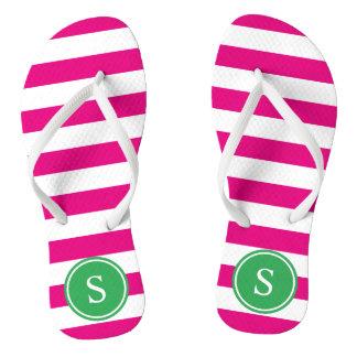 Striped Monogram in Pink & Green Thongs