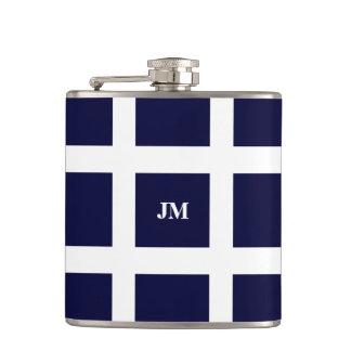 Striped navy white pattern masculine hip flask
