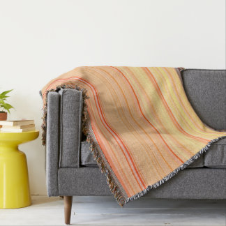 Striped Pattern Print Yellow Orange Throw Blanket